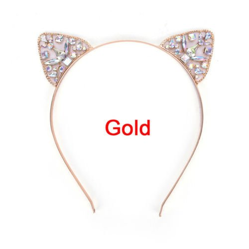 Cat Crown Tiara Headband For Women Rhinestone Princess Hollow Hairband Cat's Ears Bezel Hair Accessories gold ()