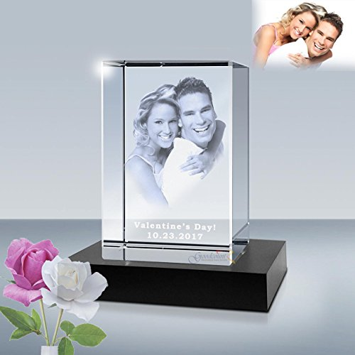 3D Personalized Photo Etched Crystal Cube, Laser Engraved Picture in Glass Gift Set by Goodcount (2.5 x 2.5 x 4) ()