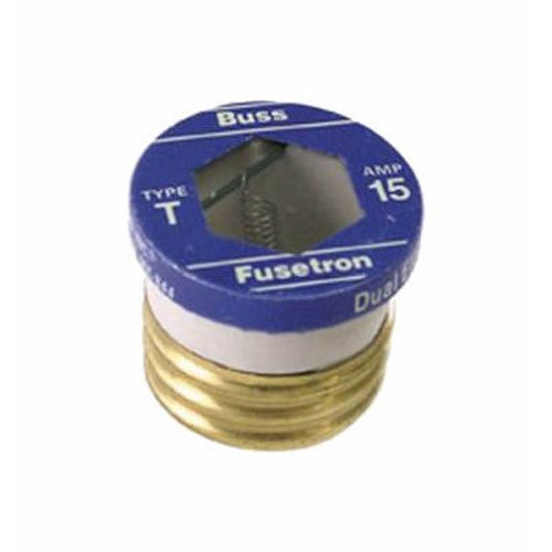 Bussmann BP/T-15 15 Amp Type T Time-Delay Dual-Element Edison Base Plug Fuse, 125V Ul Listed Carded,Pack of 2