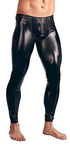 Killreal Men's PU Leather Leggings Muscle Tights Leggings Pants Long Trousers Black Large