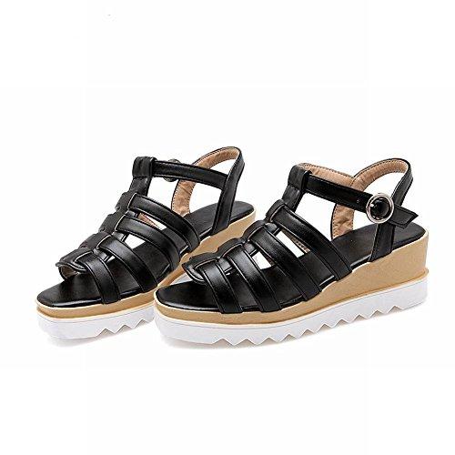 Carolbar Womens Boucle Mode Casual Confort Date Plate-forme À Bout Ouvert Wedges Sandales Noir