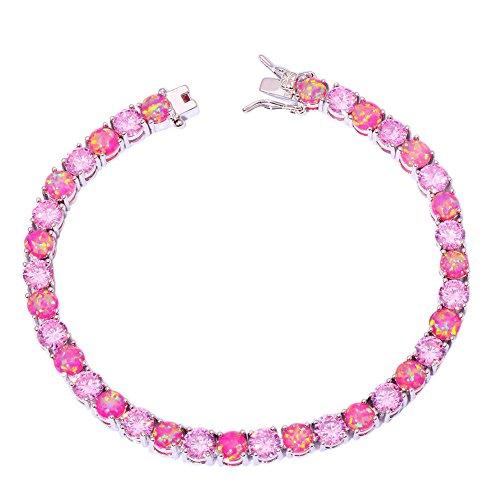 CiNily Created Pink Fire Opal Pink Topaz Rhodium Plated Women Jewelry Gems Bracelet 7 5/8