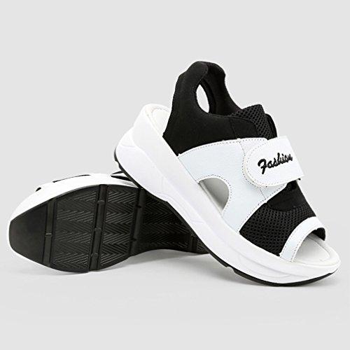 Zapatos de Cu Respirable Zapatilla Andar Mujer Peep Deporte Toe Plataforma Sandalias Hishoes Malla Negro a pwd1p