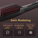 Ionic Hair Straightener Brush by COOLKESI, 30s Fast MCH Ceramic Heating Hair Straightening Brush with Anti Scald Feature, Auto-Off & Dual Voltage