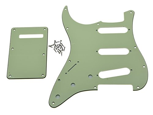 KAISH Lefty ST Strat SSS Pickguard Left Handed Tremolo Trem Cover Back Plate Fits USA/Mexican Fender Mint Green 3 Ply