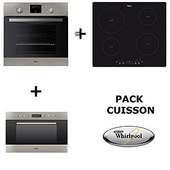 Whirlpool – Pack de horno: horno pyrolyse + Table de cuisson inducción + microondas encastrable