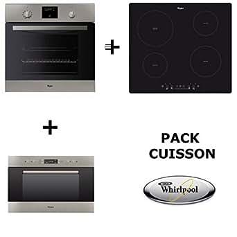 Whirlpool–Set de cocina:Horno pirolítico + Placa de cocción a inducción + Microondas encastrable