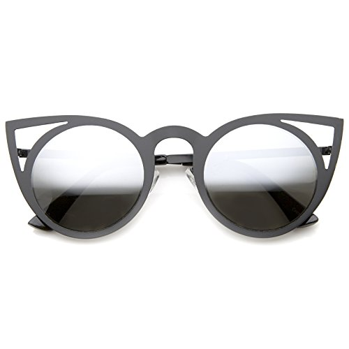 36dfc7b8f0a zeroUV - Womens Fashion Round Metal Cut-Out Flash Mirror Lens Cat Eye  Sunglasses (Black   Silver Mirror) - Buy Online in Oman.