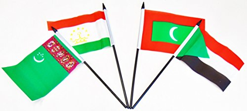 SOUTH CENTRAL ASIA WORLD FLAG SET--20 Polyester 4''x6'' Flags, One Flag for Each Country in South Central Asia, 4x6 Miniature Desk & Table Flags, Small Mini Stick Flags by World Flags Direct (Image #1)