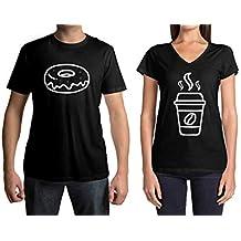 Threadrock Coffee & Donut Men's & Women's Matching Couples T-Shirt Set
