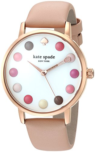 kate spade new york Women's 'Metro' Quartz Stainless Steel and Leather Casual Watch, Color:Brown (Model: KSW1253)