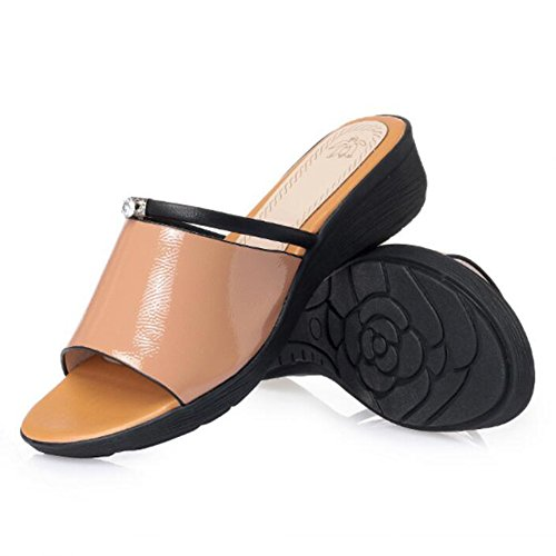Wedgies Tacón Altura color Tamaño De 5 5cm 235 Fondo uk4 Amarillo 3 Lixiong Moda Zapato Suave Eu37 Zapatillas Verano Hembra Del Blanco Colores Acogedor zapatos Casual Antideslizante 4 3 cn37 Bnx7v8Rwq