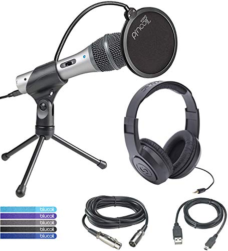 (Audio-Technica ATR2100-USB Cardioid Dynamic USB/XLR Microphone Bundle with Samson SR350 Over-Ear Closed-Back Headphones, Blucoil Pop Filter Windscreen, and 5-Pack of Reusable Cable Ties)