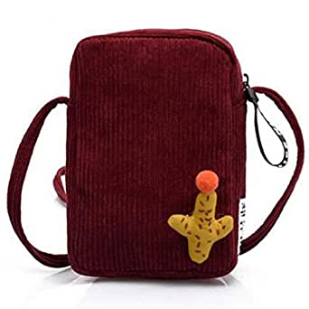 TOOGOO Velvet Packet Shoulder Diagonal Bag Mobile Phone Cute Casual Cartoon Small Square Bag Red