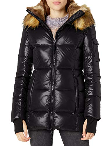 S13 Women's Faux Fur Gramercy Midlength Down Puffer Coat, Jet, S