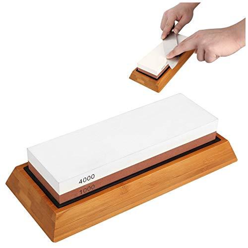 Whetstone Sharpening Stone Knife Sharpener Kit 1000/4000 Grit Chef Non-Slip Silicone Base Holder