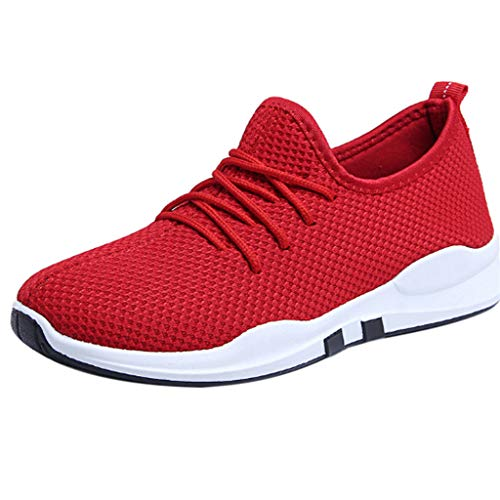 (Aunimeifly Women Running Trainers Lace-Up Flat Bottom Comfy Fitness Gym Sports Shoes Casual Shoes Red)