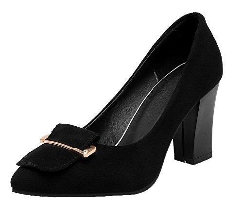 Nera Tirare Donne Smerigliato scarpe Punta Punta Su Talloni Chiusi Weenfashion A Pompe Alti Solida Delle qFExnw6WpI