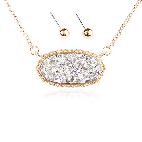 (RIAH FASHION Acrylic Faux Druzy Jewel Stone Hexagon Oval Pendant Necklace - Delicate Chain/Sparkly Crystal Beaded Strand (Long Hexagon Chain - Silver))