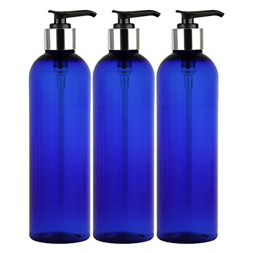 Large Soap Pump (MoYo Natural Labs 8 oz Pump Dispenser, Empty Soap and Lotion Bottle with Locking Cap, BPA Free PET Plastic Containers for Essential Oils/Liquids (3 pack, Cobalt Blue))