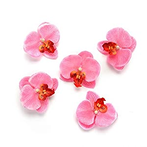 Silk Flowers in Bulk Wholesale Artificial Flower for Home Silk Butterfly Orchid Wedding Decoration Bride Bouquet Wrist Cymbidium Simulation Flowers 30pcs 6.5cm (Pink) 79