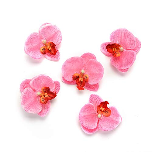Silk Flowers in Bulk Wholesale Artificial Flower for Home Silk Butterfly Orchid Wedding Decoration Bride Bouquet Wrist Cymbidium Simulation Flowers 30pcs 6.5cm (Pink)
