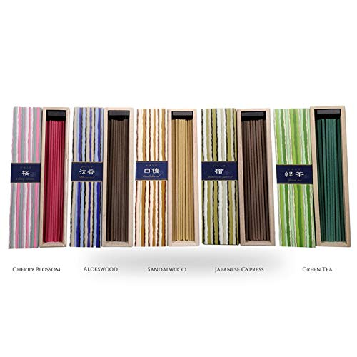 iTakara Nippon Kodo Kayuragi Incense Collection | Japan Classics Bundle 40x5 | Floral and Aromatic Wood Scents for Relaxation, Meditation, Prayer, Reading, Yoga | Clean Burning, Pure Scent - Nippon Kodo Traditional Incense