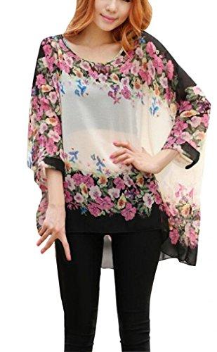 Camisetas y tops - Dizoe Blusas y Camisas Mujer Estampadas Flores Caftan Playa Gasa Tallas Grandes Boho C7
