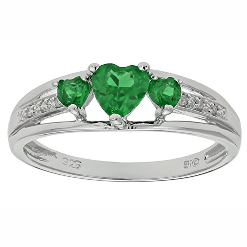 .70 Ct Triple Heart Green Emerald .018 cttw Diamond 10K White Gold Ring Size 8