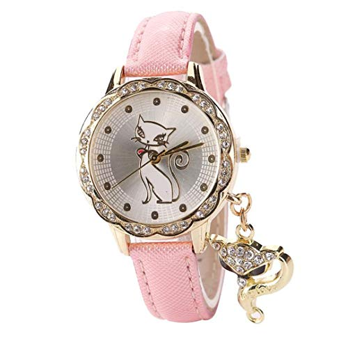 Amazon.com: Para Mujer Cute Cat Pattern Watch Women Girls Diamond Analog Leather Wrist Watches Pink: Beauty