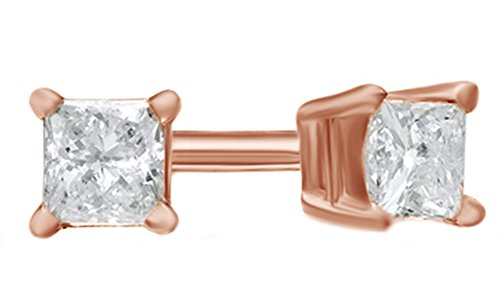 Princess Cut White Natural Diamond Solitaire Stud Earrings in 14k Solid Rose Gold (0.1 Ct) (Diamond Princess 0.1 Ct)