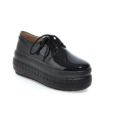 Donne Delle Lace Rotonda Weipoot scarpe Alti In Solidi Delle Nere Up Vernice Chiusa Punta Talloni Pompe gpxTnxRwqB