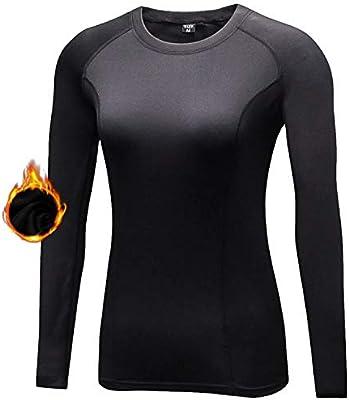 Sillictor - Camiseta de compresión para Mujer, con Capa Base Theraml, para esquí, Correr, Senderismo, Ciclismo, Mujer, Color 021-Negro, tamaño XX-Large: Amazon.es: Deportes y aire libre