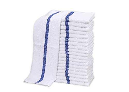 36 PC New 100% Cotton White Restaurant Bar Mops Kitchen Towels 28oz (3 DOZEN ) (36, Blue Stripe) by Gold textiles