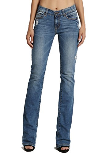 TheMogan Women's Mid Rise Slim Fit Bootcut Jeans with Soft Blue Denim Medium 13