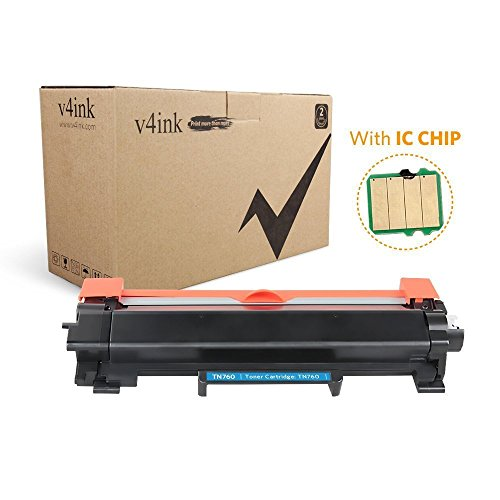 V4INK 1 Pack New Replacement for Brother TN760 TN-760 TN730 Compatible Toner Cartridge with IC Chip for use with Brother l2390dw HL-l2395dw DCP-l2550dw MFC-l2750dw MFC-l2710dw HL-l2350dw HL-l2370dw