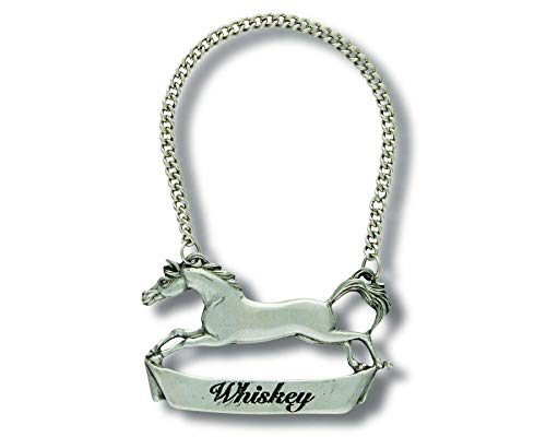 - Vagabond House Pewter Galloping Steed WHISKEY Decanter Tag/Liquor Bottle Label 3
