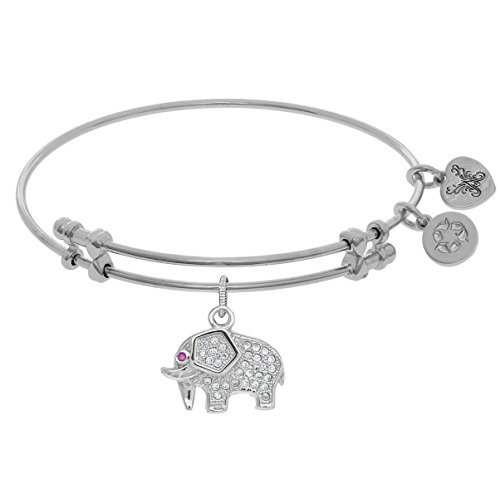 Angelica Collection Brass White Elephant Charm White CZ On W Hite (Brass Elephant Charm)