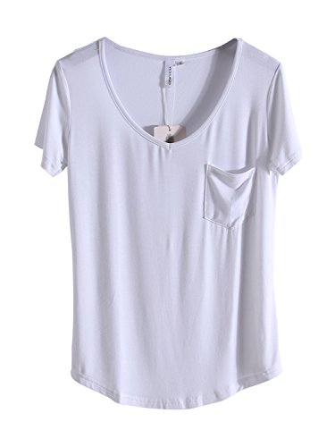 MONOLAR Women's T Shirt Casual Solid V Neck Loose Soft Tops With Pocket White M (Soft V-neck Tee)