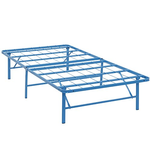 Modway Horizon Twin Bed Frame In Light Blue - Replaces Box Spring - Folding Portable Metal Mattress Bed Frame With Storage - Low Profile - Heavy - Blue Light Metal