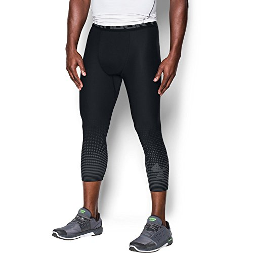 Under Armour Men's HeatGear Armour Graphic ¾ Leggings,Black (001)/Graphite, Small by Under Armour (Image #1)
