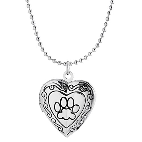 Best Cat Mom Ever Paw Print Heart Locket Necklace Pendant for Women Child Picture Photo Silver -