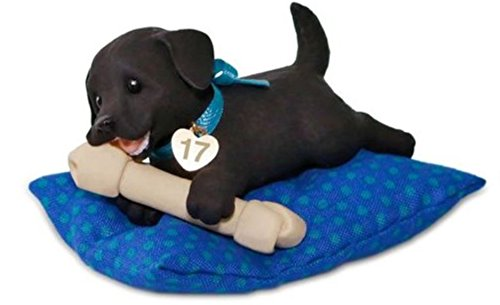 (Hallmark 2017 Playful Puppy Surprise Christmas Ornament Black with Blue Pillow )