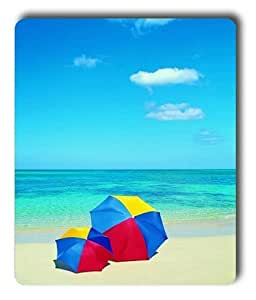 Lilyshouse Two Colorful Umbrellas on the Bule Beach Rectangle Mouse Pad