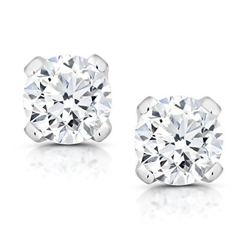 1/5 cttw Round Cut 14K White Gold Diamond Stud Earrings