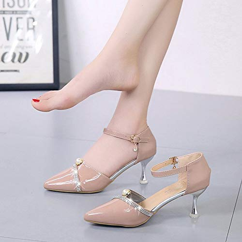 Heel Pink Heels PU Basic Women's Polyurethane Black Toe Beige Pointed Beige Buckle Summer Shoes Pump ZHZNVX Translucent xTRzwgqz