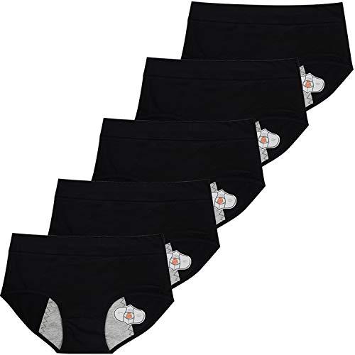 ETAOLINE Women's Period Panties Menstrual Underwear Leakproof Brief Maternity Hipster Postpartum Bleeding, Pack of 5 Black