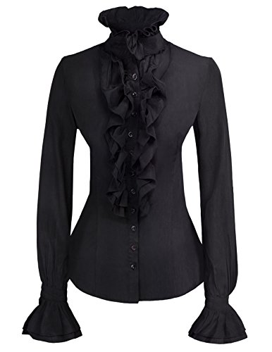 - Kate Kasin Women Lolita Lotus Ruffle Shirts Black Victorian Blouse KK000721-1 Black M