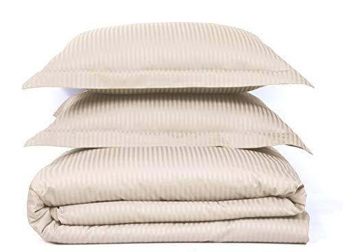 500 Thread Count 100% Cotton Stripe Best Hotel Luxury Bedding 3-Piece Duvet Cover Set Zipper Closure-King (106