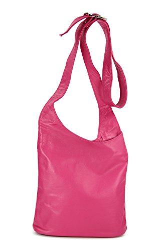 Belli - Bolso cruzados de cuero para mujer rosa rosa